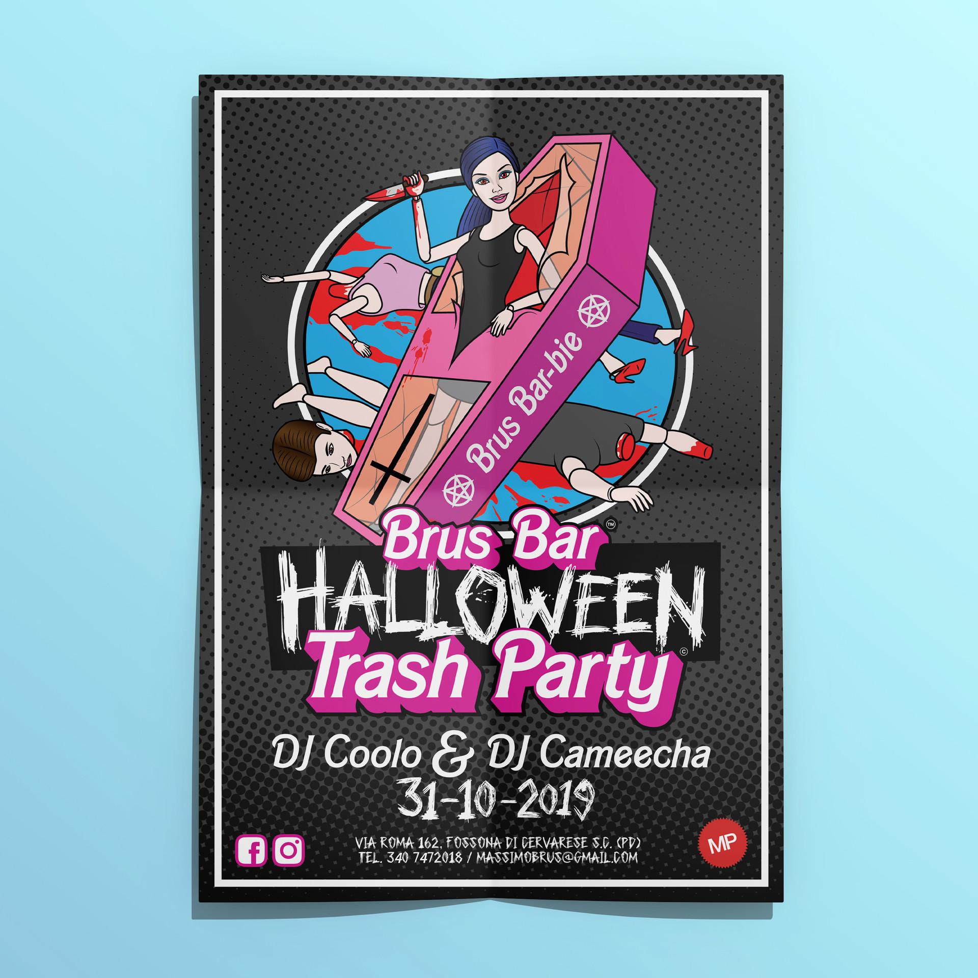 Brus Bar Halloween Trash Party 2019 Poster - MP Grafica