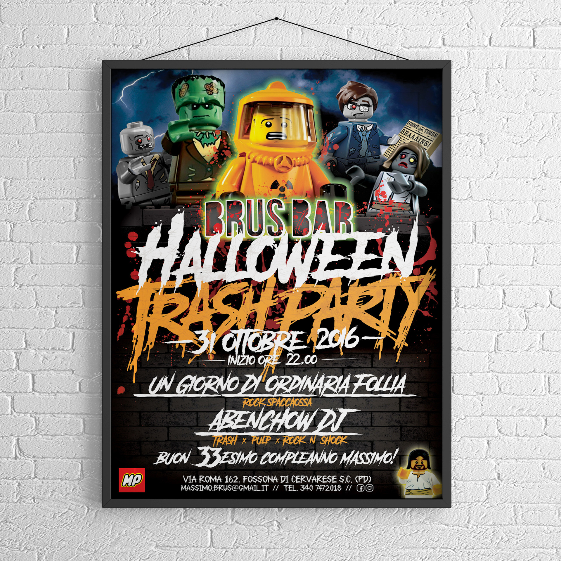 Brus Bar Halloween Trash Party 2016 Poster - MP Grafica