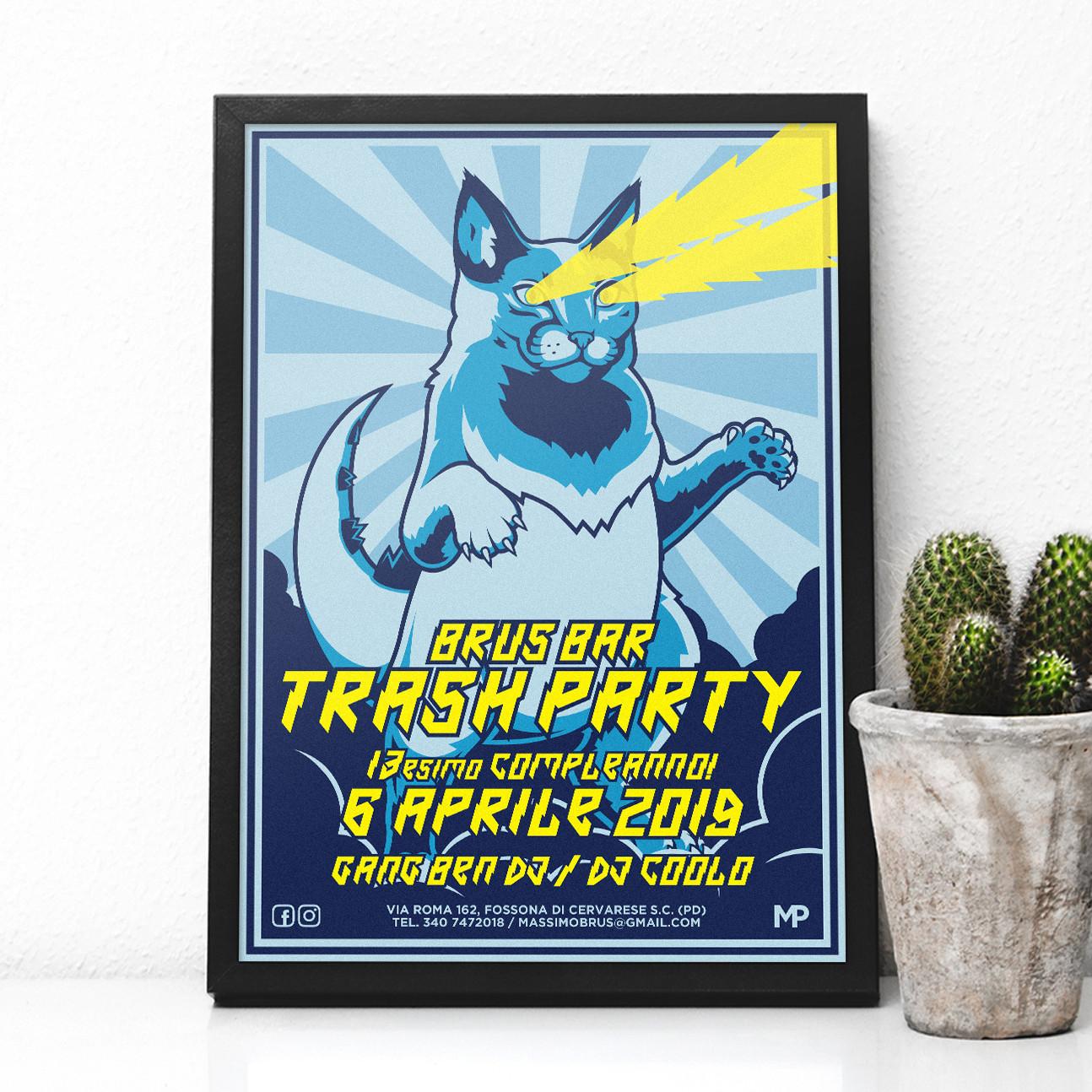 Brus Bar Trash Party 2019 Poster - MP Grafica
