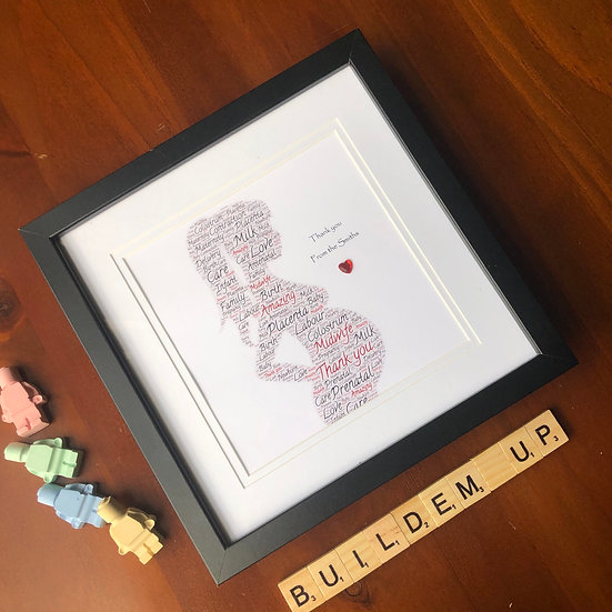 Personalised Framed Midwife gift, 8x8in frame