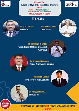 Webinar on - Impact of COVID-19 on Engineering Students 75th anniversary of india's indepe