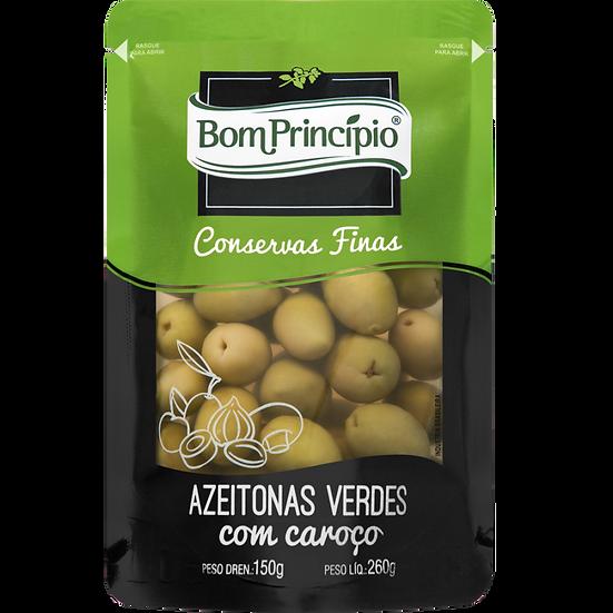 Azeitonas Verdes Com Caroço - Bom Princípio (150g)