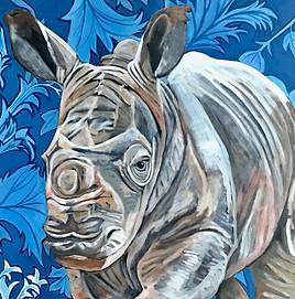 Jimmy - White Rhino- Wall Flower Series