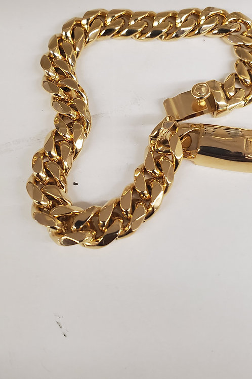 Cuban 10MM Thick Bracelet Box Clasp Gold Stainless Steel