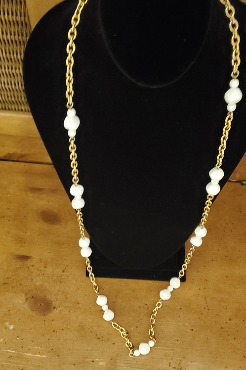 Long bead and chain necklace