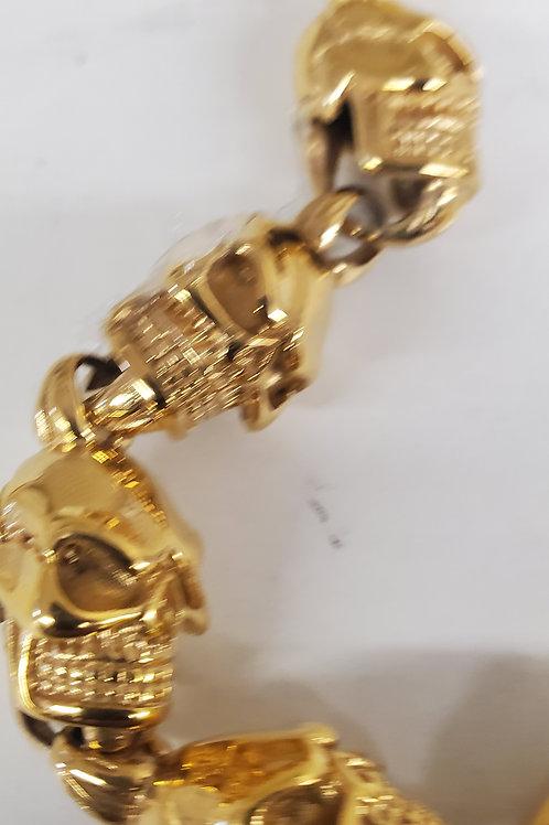 Skull Link Gold Stainless Steel Bracelet