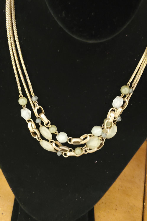 Thin chain necklace with bead cluster