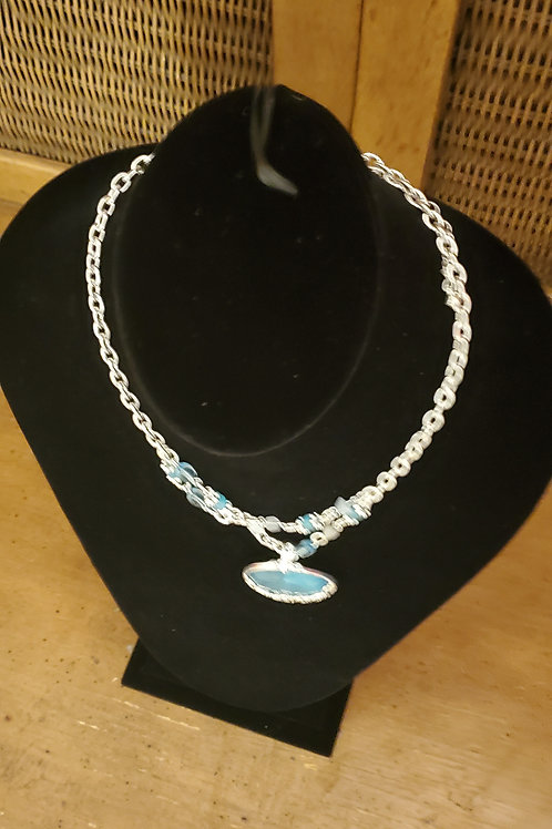 Chain necklace with blue stone