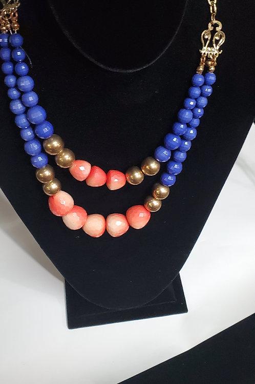 Elegant pink blue necklace