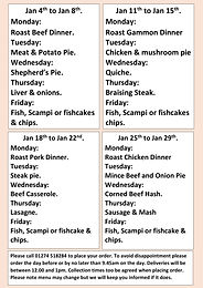 Hot Meals for the over 60's and those who are isolating