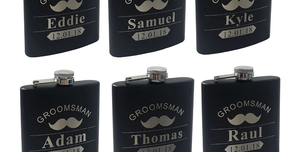 6pcs Personalized Engraved 6oz Black Stainless Steel Hip Flask.