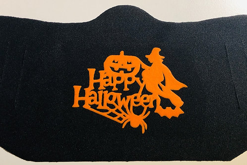 Happy Halloween Witch on Broom - Easy Breather Face Mask