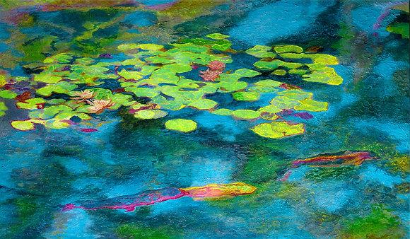 "Water Lillies & Koi  28""x48"""