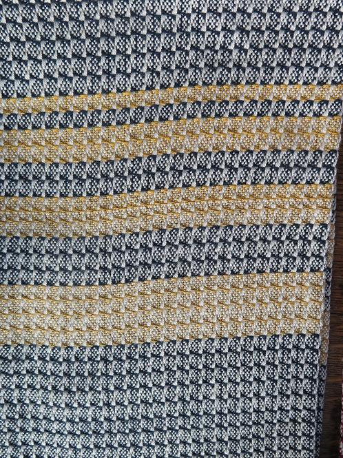 Cotton Dishtowel - Navy & Gold