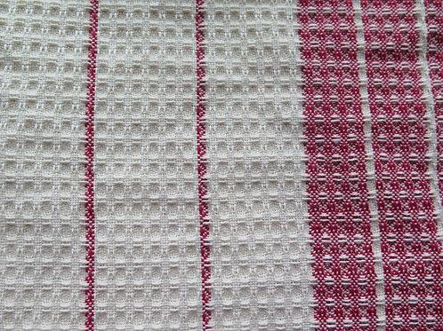 Waffle Weave Dishtowel - White & Red