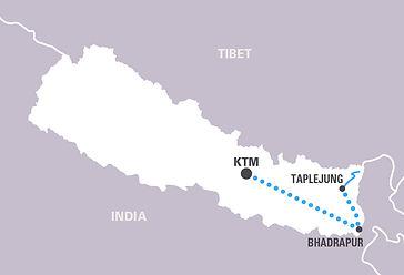 Zemljevid Kangčendzena, Nepal
