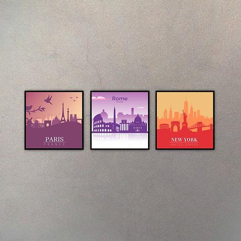 Set Paris, Rome & New York (3 Cuadros)