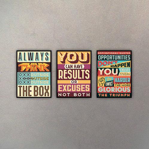 Set Frases Motivacionales Pop (3 Cuadros)