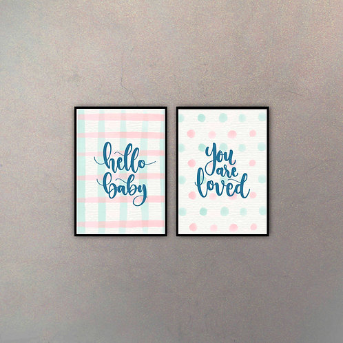 Set Hello You're Loved (2 Cuadros)