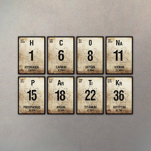Set Elementos Tabla Periódica I (8 Cuadros)