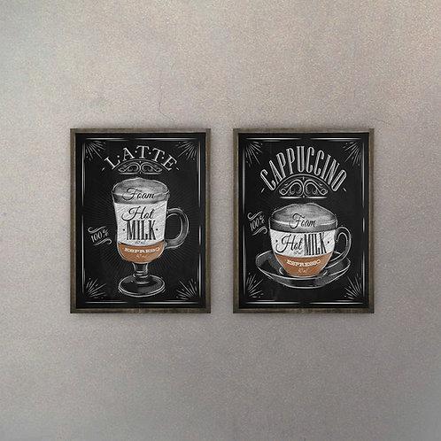 Set Latte & Cappuccino (2 Cuadros)