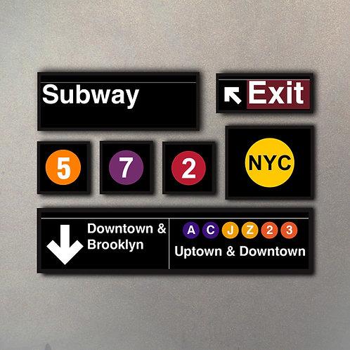 """Combo Colección """"NYC Subway"""" (7 Cuadros)"""