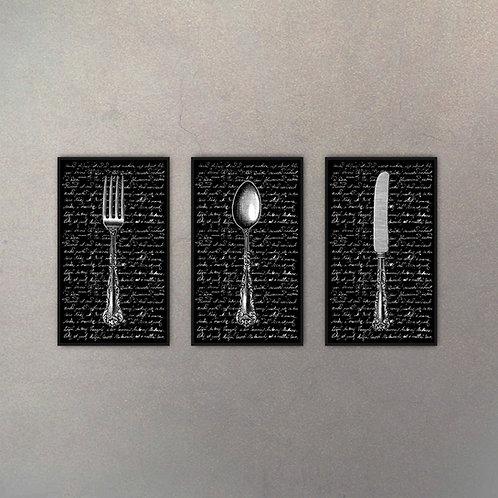 Set Cubiertos Tipografía (3 Cuadros)