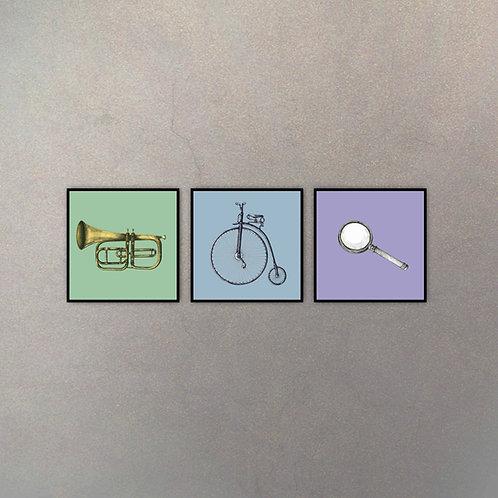 Set Objetos Clásicos (3 Cuadros)