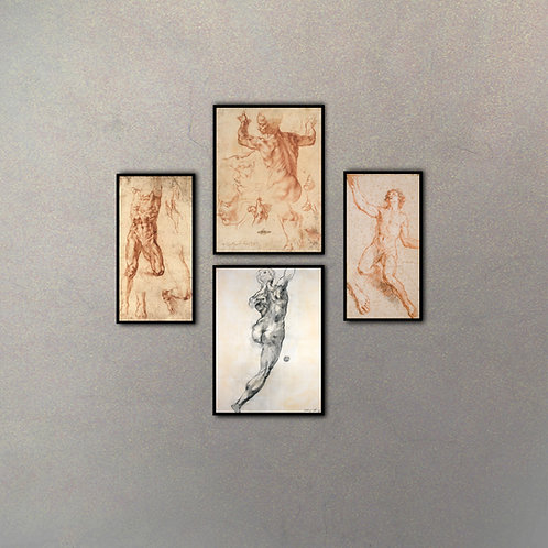 Set Bocetos Cuerpo Humano (4 Cuadros)