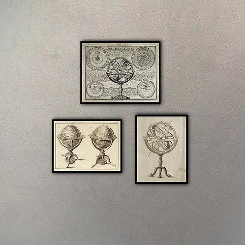 Set Esfera Armilar Planisferios (3 cuadros)