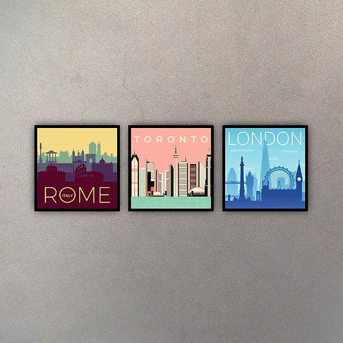 Set Rome, Toronto & London (3 Cuadros)