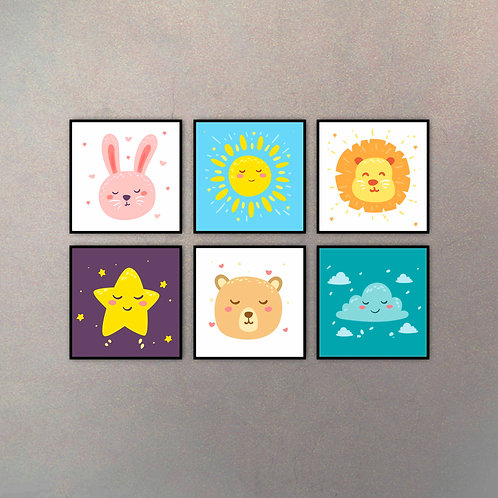 Clima & Animales Infantiles (6 Cuadros)