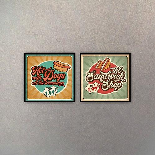 Set Hot Dogs & Sandwich Shop (2 Cuadros)
