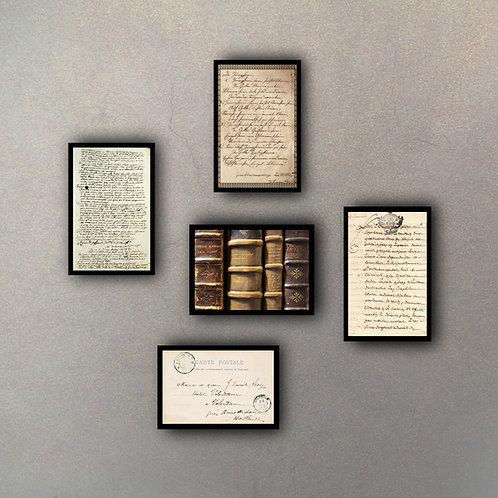 """Combo Colección """"Libros y cartas"""" (5 Cuadros)"""