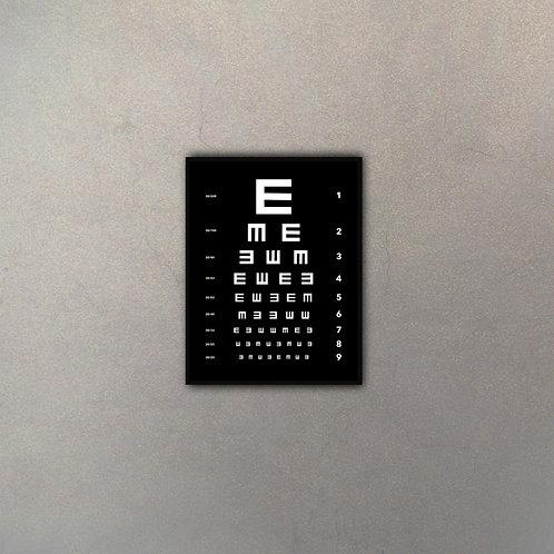 """Tabla Oculista """"E"""" Fondo Negro"""