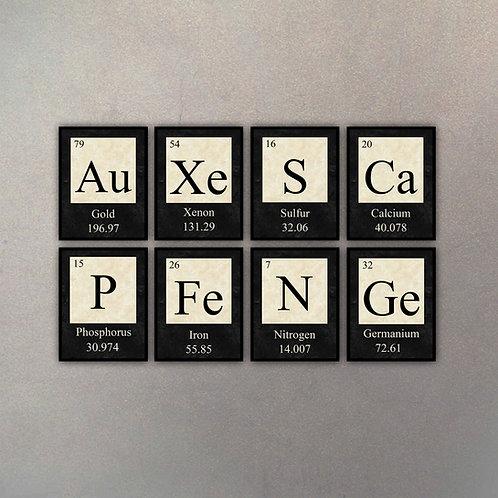 Set Elementos Tabla Periódica II (8 Cuadros)