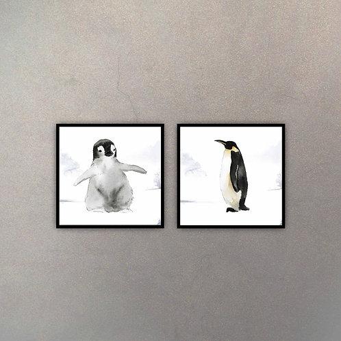 Set Pinguinos Infantiles (2 Cuadros)