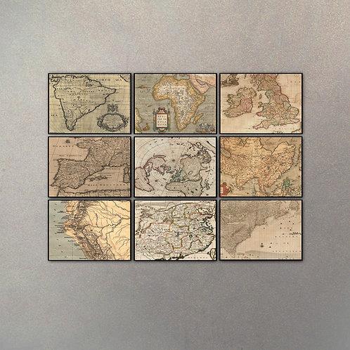 Set Mapas Collage (9 Cuadros)