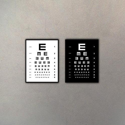 """Set Tabla Oculista """"E"""" (2 Cuadros)"""