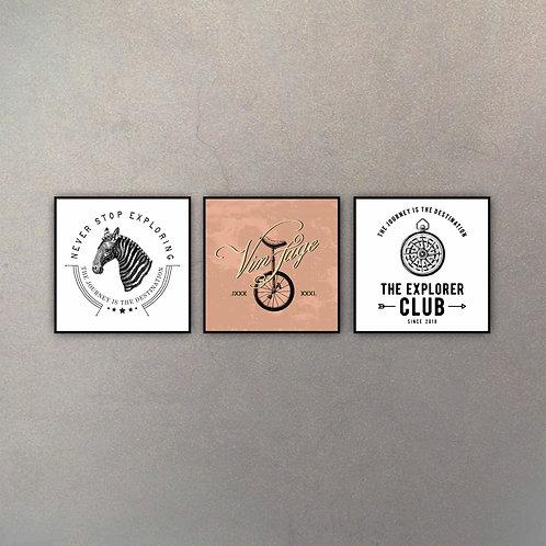 Set Diseños Vintage (3 Cuadros)