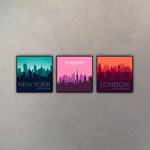 Set New York, Toronto & London (3 Cuadros)