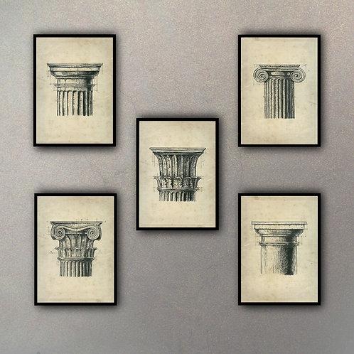 Set Capiteles (5 Cuadros)