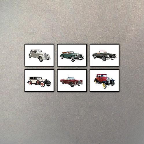 Set Autos De Colección II (6 Cuadros)