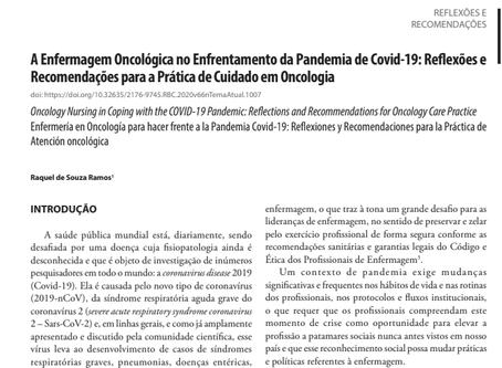 Artigo: A Enfermagem Oncológica no Enfrentamento da Pandemia de Covid-19