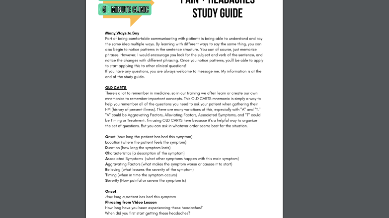 Patient History: Headaches and Pain Study Guide