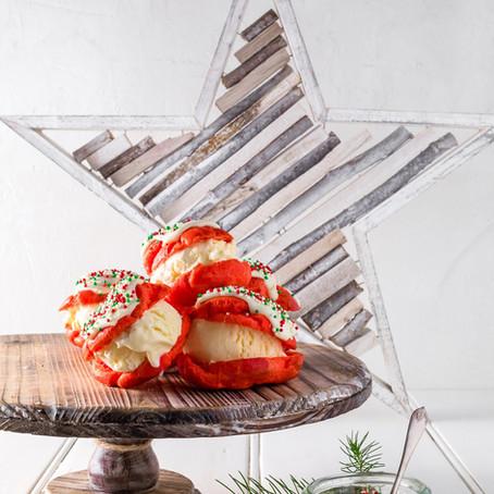 Christmas Profiterole Ice Cream Sandwiches
