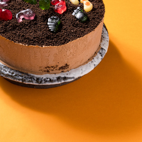 Chocolate Brownie Mousse Cake with Dirt and Grubs