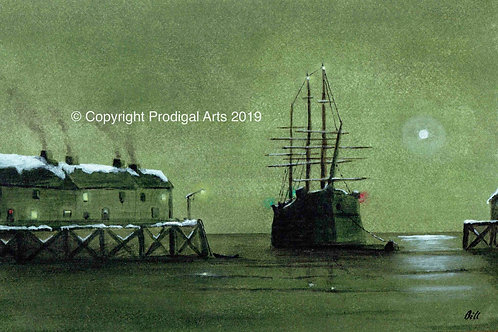 Winter Night scene:  Sailing Ship quayside mooring