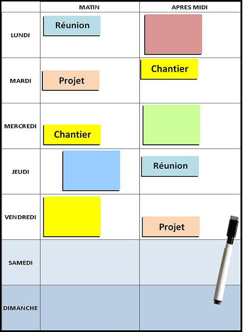 Kit Planning semaine magnétique effaçable 30x20 cm A4