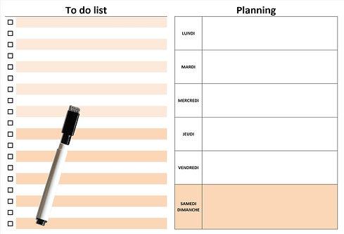 Planning semaine et To Do List effaçable magnétique marron A4 20x29 cm